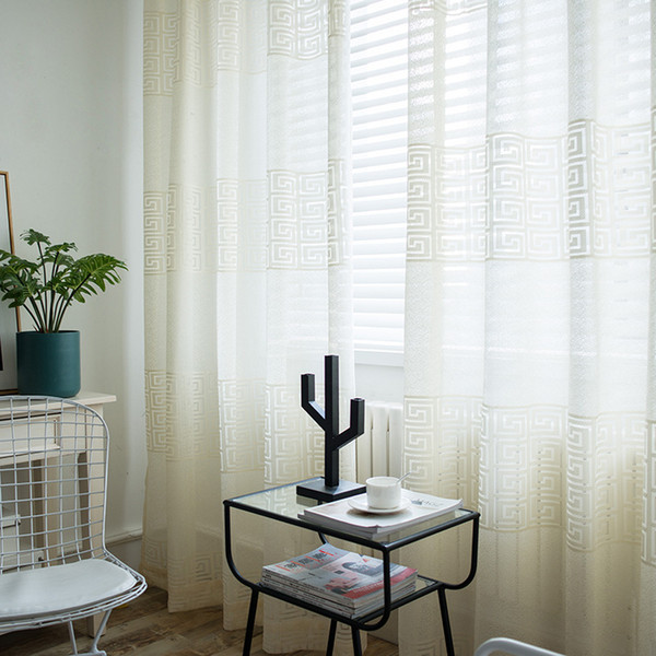 2019 Light Yellow Curtain Modern Minimalist Solid Color Jacquard Screens Smart Beauty Suitable For Bedroom Balcony Living Room Half Shade From