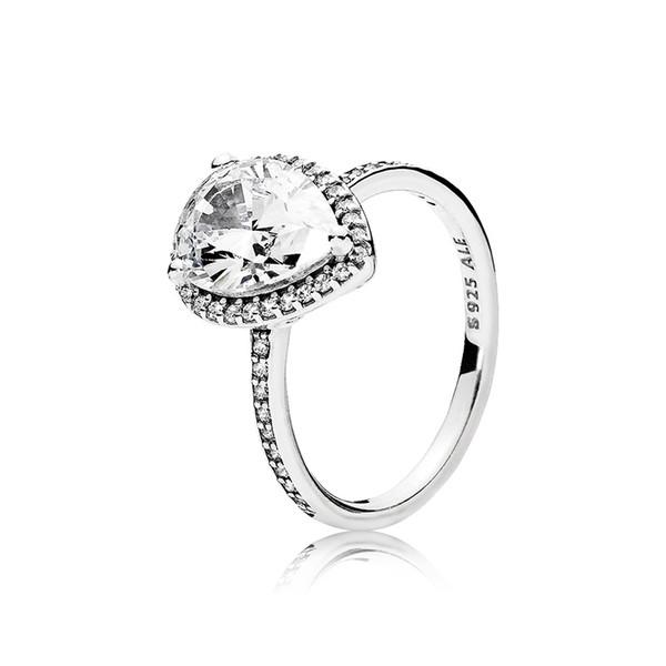 925 plata esterlina CZ Diamond Tear drop ANILLO de Boda Conjunto Caja original para Pandora Water Drop Anillos para Mujeres Joyería de Regalo