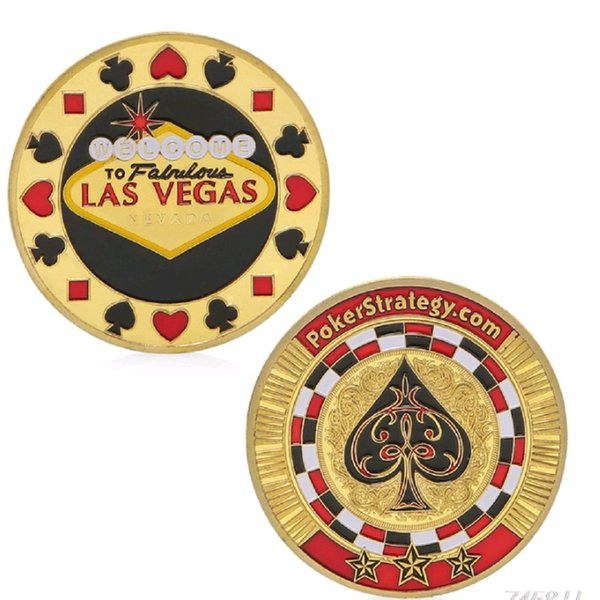 GLSY Hot Selling Chips Poker Spades Welcome Las Vegas Coin Souvenir Gold Plated Commemorative Coin Collectible Gift House Decorative Coin