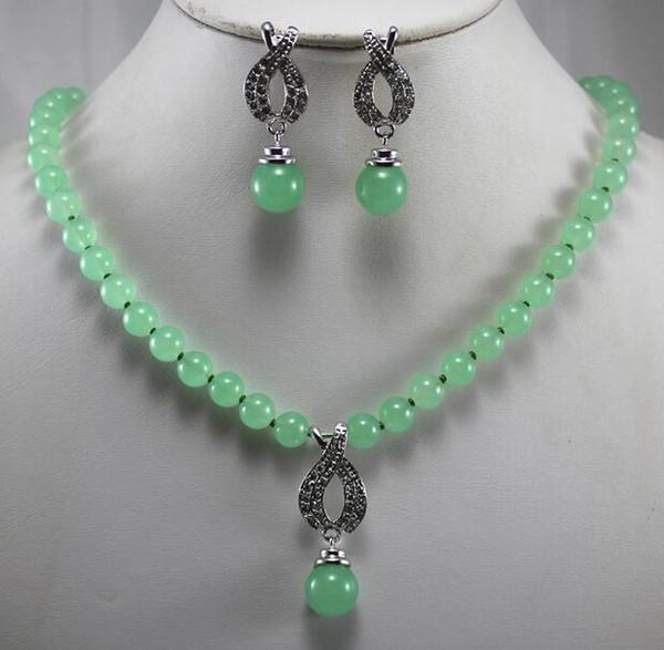 Prett schöne Frauen Hochzeit Großhandel / Einzelhandel Neupreis Damen Halbedelsteine grün Edelstein Halskette Ohrring Set moda