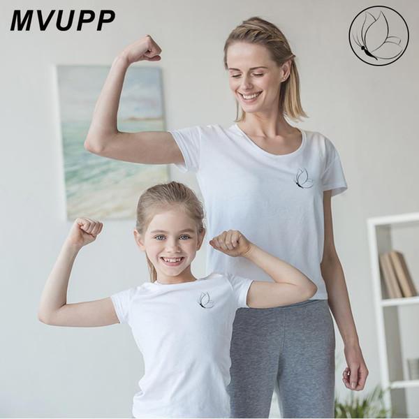 Anne baba kızı kelebek baskı eşleştirme kıyafetler aile tshirt oğul anne baba bebek kız giysileri büyük küçük kardeş yaz