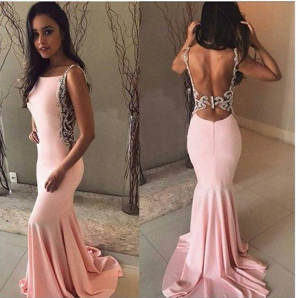 Formal Evening Dresses Plus Size robes de bal Black Girl Prom Dress Long Cheap 2019 Mermaid Scoop Neck Backless Pink Ball Party Gowns