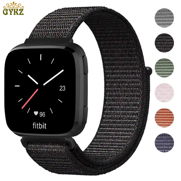 Replacement Woven Nylon Strap For Fitbit Versa Smart Watch Breathable Adjustable Closure Loop Watch Band For Fitbit Versa Black