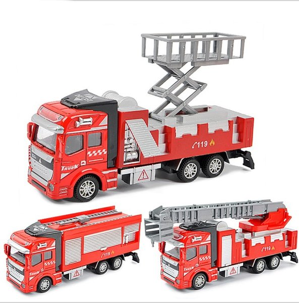 Boy Christmas Toy.2018 Boy Christmas Gift Metal Alloy Toy Alloy Pull Back Model Car Multi Choices Birthday Gift Toys Fire Engine Aerial Ladder Car From Tfboys13 9 05