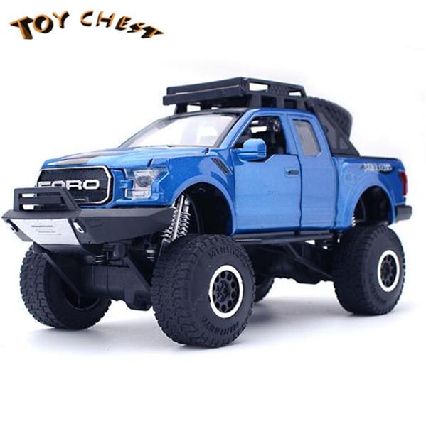 OYUNCAK CHEST Yepyeni Ürünler 1:32 Alaşım Büyük Dört tekerlekli Ford Tırmanma Araba Arabaları Kamyon Çocuklar Için Dört Açık Dört Renk Model Araba