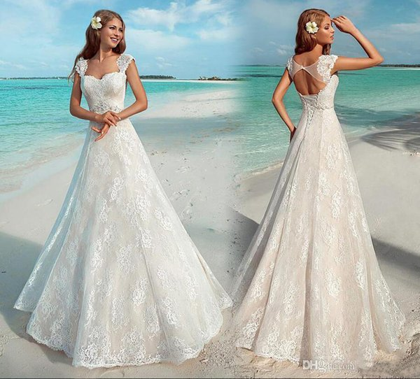 Elegant Sweetheart Neck Lace Appliques Beach Wedding Dresses Cap Sleeves Sexy Open Back Lace Up Bridal Gowns Sweep Train Wedding Dresses