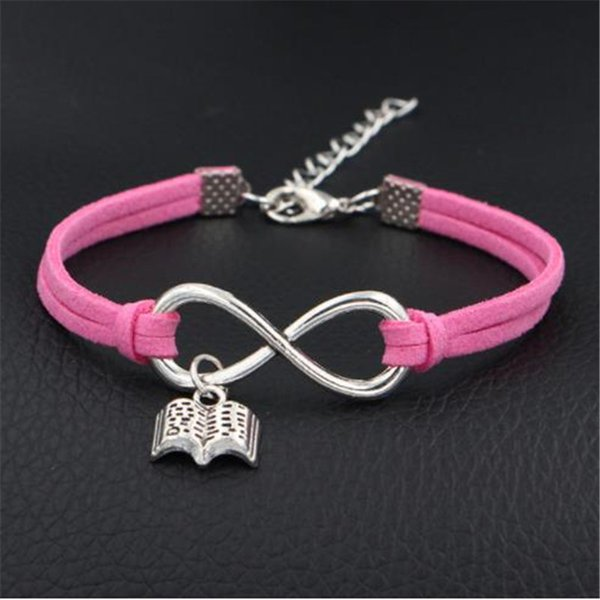 Fashion Single Layer Pink Leather Suede Wrap Jewelry Vintage Engraving Infinity Love Read Books Pendant Braided Women Men Bracelet & Bangles