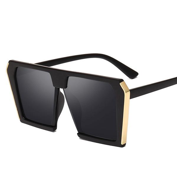 2019 New Oversized Sunglasses Women Big Frame Square Flat Top Sun Glasses Female Men Vintage Mirror Shades UV400 Z236