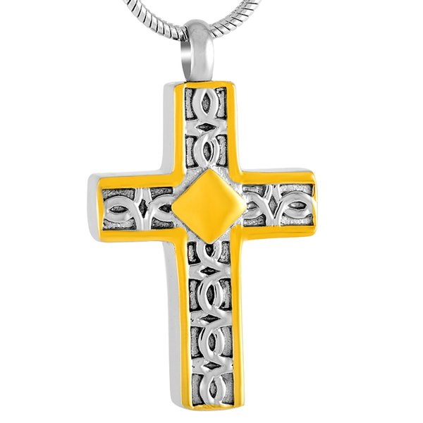 Cremation Pendant For Men Silver And Gold Stainless Steel Cross Memorial Urn Necklace Hold Human/Pet Ashes Keepsake