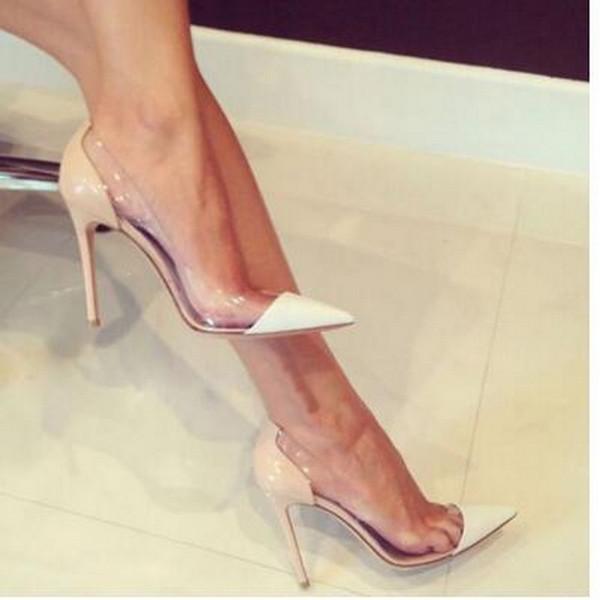 {Orijinal Kutusu} Son Moda Kadınlar Yüksek Topuklu Özel Deri ve PVC Sivri Burun Pompaları Elbise Ayakkabı boyutu 34-45