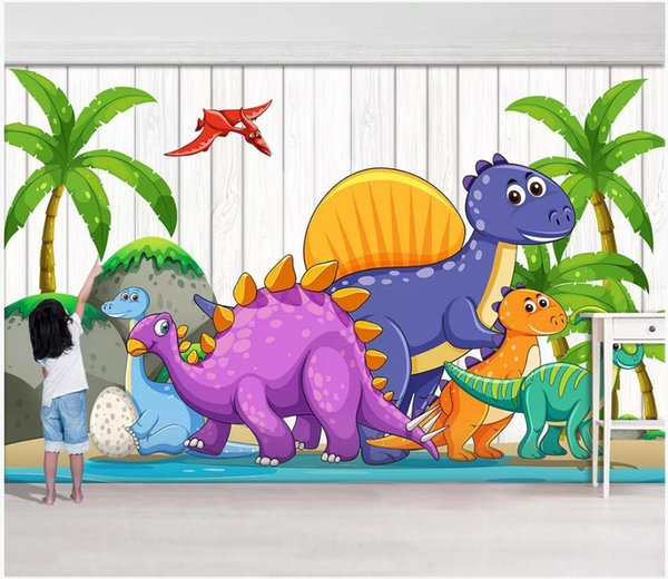 WDBH 3d wallpaper custom photo Cartoon Jurassic Dinosaur Paradise Children's Room painting home decor 3d wall murals wallpaper for walls 3 d