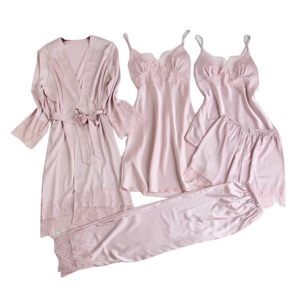 Женские пижамные комплекты 5 шт. Атласная пижама Pijama Silk Одежда для дома Одежда для дома Пижама Lounge Lounge с нагрудными прокладками