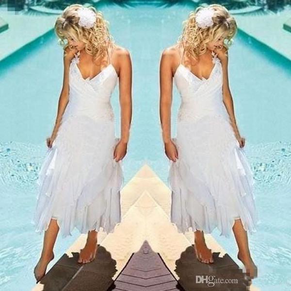 Abiti da sposa vintage tea-lunghezza spiaggia abiti da sposa 2019 pizzo in chiffon halter abiti da sposa paese corto su misura abiti da sposa collo a v