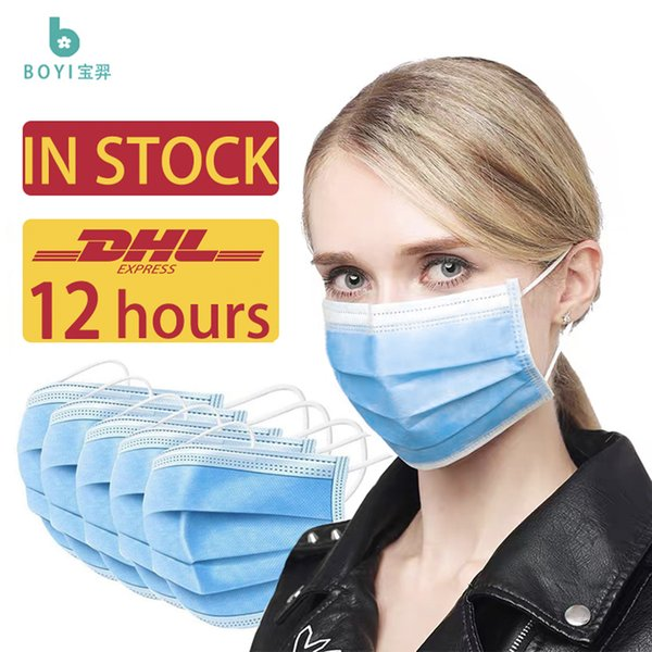 best selling Disposable face mask Free delivery 3-10 to the United States,Blue 3 layer breathable elastic earrings to prevent dust pollution