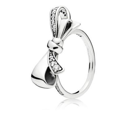 2016 New Fashion Elegant Pandora Ring Bowknot Ring finger Joint For Women Wedding Jewelry Set Fashion Bride lover Jewelry Sets Valentine Day