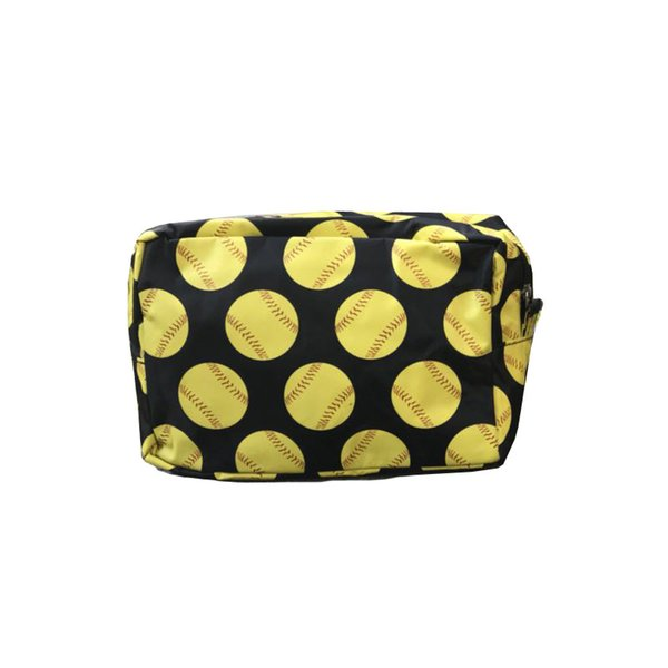 Nylon baseball softball Print cosmetic bag Zipper Make up bags Pillow Toilet Bathing Pouch Travel Women's Travel Cosmetic Bag DHL FREE