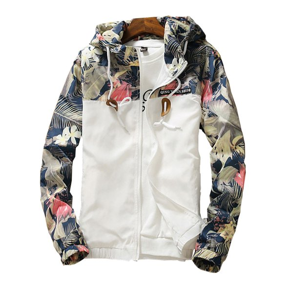 2018 Autumn Floral Jacket Mens Hooded Jackets Slim Fit Long Sleeve Homme Trendy Windbreaker Coat Brand Clothing Drop Shipping