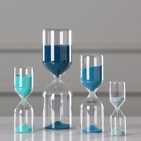 Großhandel Glas Sand Clock Sanduhr-Verzierungen Blau Zeitzähler Count Down Timer Sanduhr Crafts Figuren Büro-Dekor-Geschenke