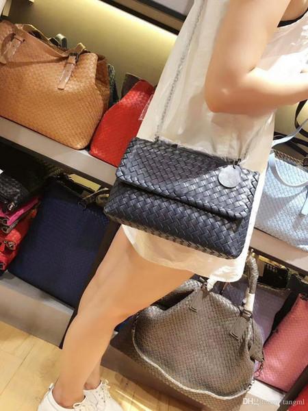 simple bolsa kintting vb 2018 mujeres bolso de ganchillo hechos a mano material suave de las ovejas bolso de cuero de piel de cuero genuino clásico de la moda roma