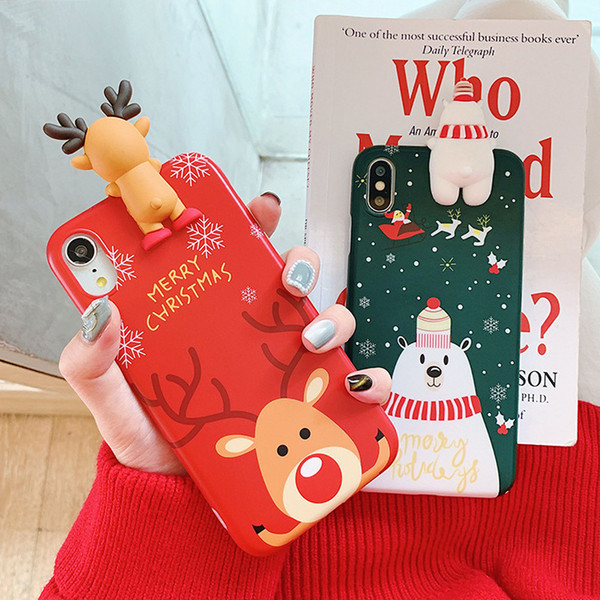 Merry Christmas 3D Cute Snowman Deer Gifts Soft TPU Rubber Silicone Fundas Cute Phone Back Cover Case For iPhone XS Max XR X 8 7 6 6S Plus