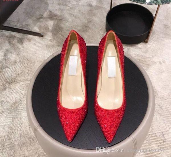 Marca Clásica de cuero de lujo marca de moda damas sexy cuero puntiagudo diamantes de pasta roja con vestido formal zapatos cómodos profesionales