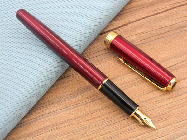 top popular Writing Business Sonnet Red Lacquer With Golden Trim M Nib Fountain Pen 2021