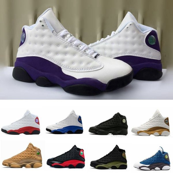 Designer Sneakers New Mens 13 Cap And Gown Black Cat LA WHITE PURPLE Grey Basketball Shoes White Women Chicago Red XIII Trainer Sneakers Best