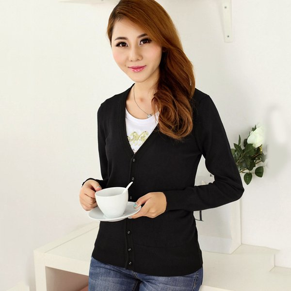 Fashion Knitted Sweater Women Cardigan Long Sleeve V-Neck Sweaters Female Ladies Cardigan With Buttons Spring Autumn Pull Femme