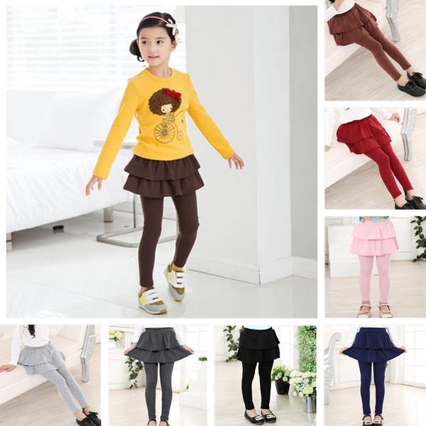 7 renkler Kızlar Pantolon-etek Kız Tozluk Etek ile Çocuk Giysi Tasarımcısı Kızlar Kız Çocuklar için pantolon Tayt Pantolon D ...