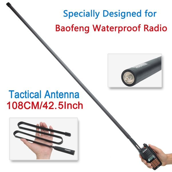 top popular ABBREE SMA-Female VHF UHF Dual Band Foldable Tactical Antenna For BaoFeng UV-XR UV-9R Plus  Mate Waterproof Walkie Talkie UV XR 2021
