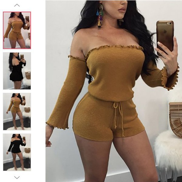 New Women Long Sleeve Playsuit Jumper Bodycon Knitted Jumpsuit Lady Sexy Slash Neck Belted Skinny Jumpsuits Short Romper
