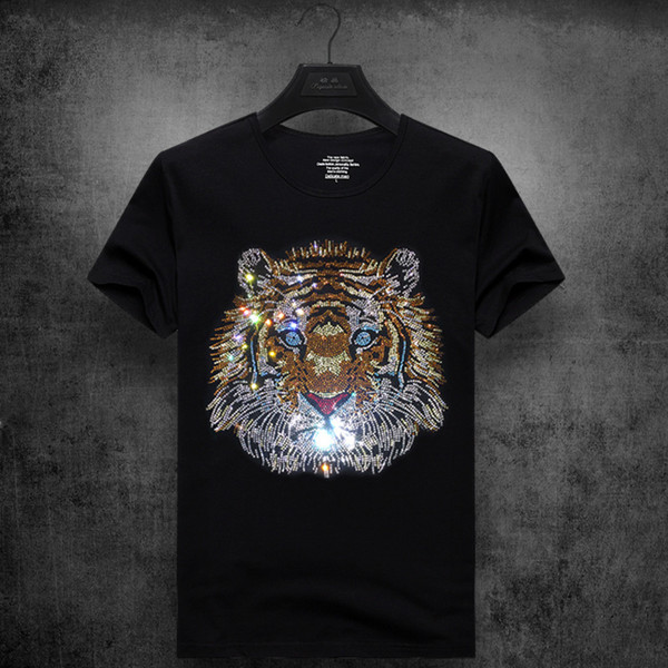 mens designer t shirts t shirt clothes tide brand tiger head hot drilling T-shirt short-sleeved men's round neck half sleeve social