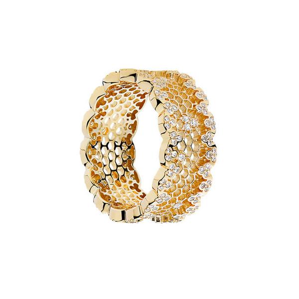 Women Luxury Jewelry 18K Yellow Gold Plated Ring for Pandora 925 Sterling Silver Hive CZ Diamond Wedding Rings Original box