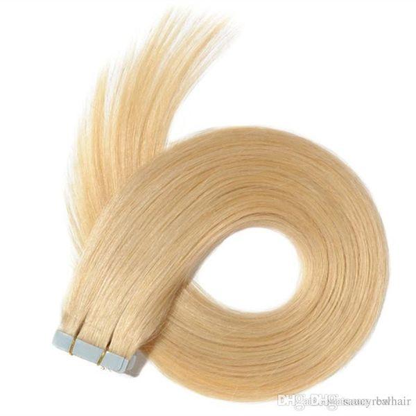 En kaliteli 60 adet 150Gr Tutkal Cilt Atkı PU Bant İnsan Saç uzantıları 16 18 20 22 24 inç Brezilyalı Hint saç uzatma, Ücretsiz DHL