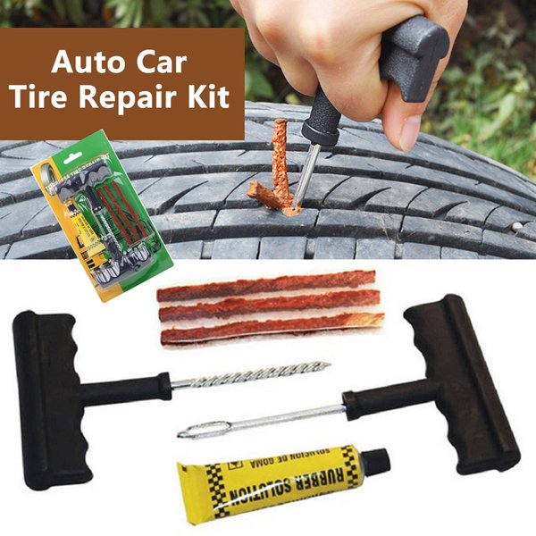 Tire Repair Tools Kit 6Pcs Car Accessories Auto Bike Auto Tubeless Tire Tyre Repair Kit Puncture Plug Repair Kit Hand Tools