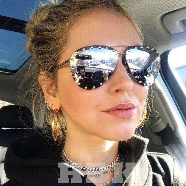 2ff75582470a Hbk Luxury Italy Oversized Pilot Sunglasses Women Uv400 Retro Brand Designer  Big Frame Sun Glasses For