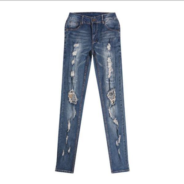 Jeans Hommes Fashion Style Streetwear Trou chaîne New Hot Denim Jeans Homme Vente Taille Asian 30-38