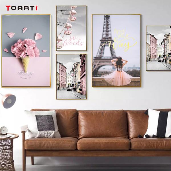 moderna muro rosa Paesaggio pittura scandinava rosa Fiore manifesto Stampa immagine minimalista Nordic Living Room Decor