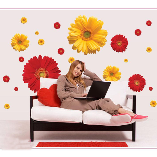 New Chrysanthemum Flowers Wall Stickers Home Decor Bedroom TV Sofa Wall Poster Removable Self-adhesive PVC Art Mural Wallpaper