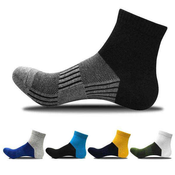 Nuevos calcetines de compresión para hombre Otoño e invierno Calcetines deportivos al aire libre Color a juego Algodón orgánico peinado Baloncesto Hombre