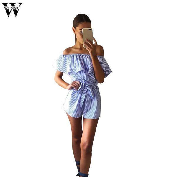 Womail bodysuit Women Summer Fashion Casual Playsuit Ladies Jumpsuit Romper Beach Striped Playsuit overalls dropship M6