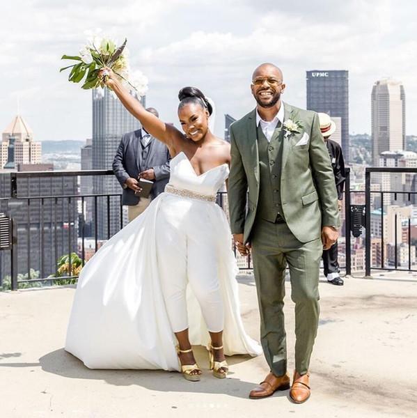 Moderna Africano A Line Satin Vestidos de Noiva Querida Pescoço Sem Encosto Macacão Vestidos De Noiva De Casamento Com Saia Destacável