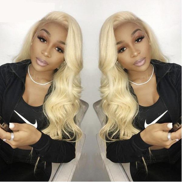 Blonde 13x4 Full Lace Frontal Wigs Pre Plucked Malaysian Body Wave Straight Human Hair Full Lace Wigs with Natural Hairline for Black Women