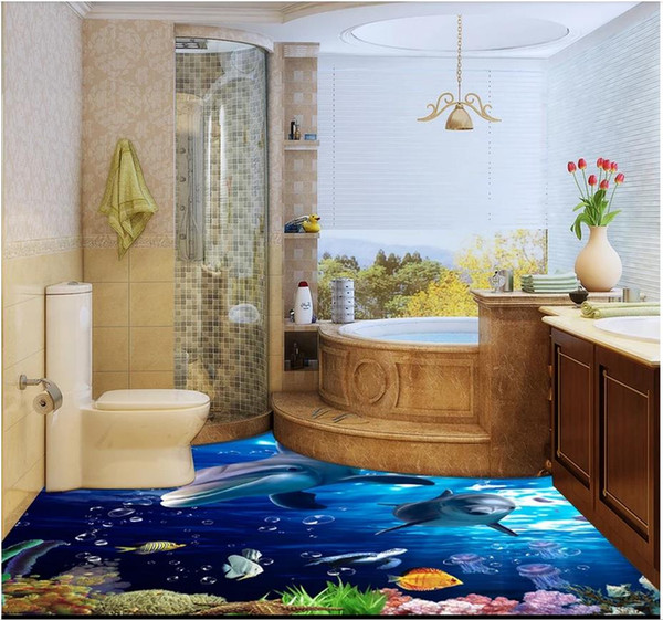 Großhandel 3D PVC Bodenbelag Wasserdicht Selbstklebende 3D Wandmalereien  Tapeten Ocean World Badezimmer Schlafzimmer Küche 3D Boden Dekorative  Malerei ...