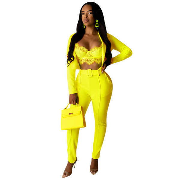 New Women sets Summer Women's Set solid long sleeve blazer top pants suit two piece set office tracksuit Casual outfit