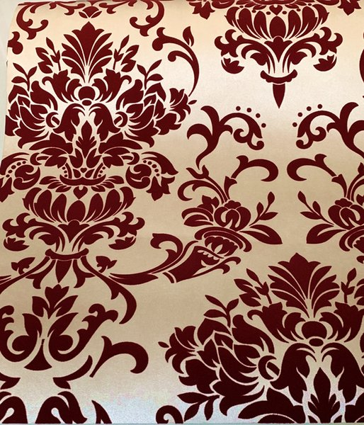 Red velvet Classic wallpaper European Style Roll Wall Paper Damask Embossed Flocking Wall Covering 3d effect