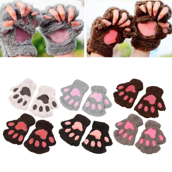 top popular Hot Selling Fingerless Plush Gloves Fluffy Bear Claw Cute Cat Claw Plush Soft Warm Lovely Cute Women Half Finger Covered Fashion Gloves 2019