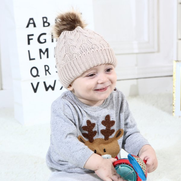 knitted Hat European And American Solid Color Pompom Knitted Cap For Children Baby Warm Hat Hot Style Adult Woolen Cap
