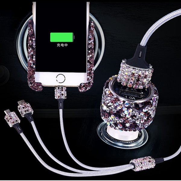 Luxury Bling Rhinestone Car Phone Holder Car Air Vent Adjustable Cell Phone GPS Mount Crystal Dual-Port USB Charger Adapter