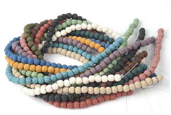 65 pz / lotto 6mm Molti Colori Lava Beads Pietra Naturale Roccia Vulcanica Rotonda Branelli Allentati Gioielli FAI DA TE Braccialetto Che Fanno Vulcano Pietra Bead